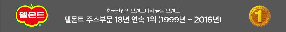 한국산업의 브랜드파워 골든 브랜드, 델몬트 주스부문 17년 연속 1위 (1999년 ~ 2015년)